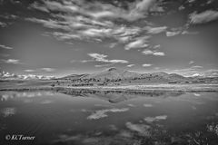Dreamscape, country road, photo shoot, pond, distant mountain background, fall day, landscape, monochrome photograph, artist's dream