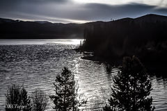 Deep, monochromatic, silvers, blacks, day's end, winter day, Dillon Lake, Colorado