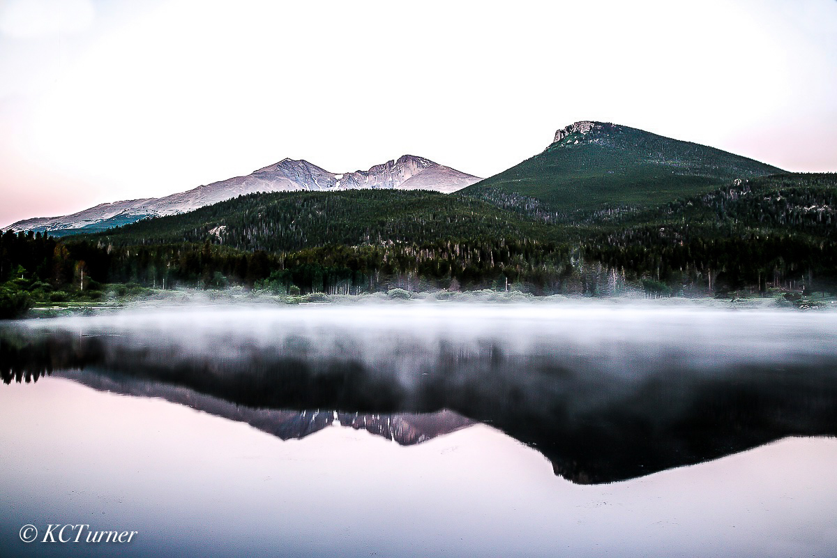 Lily Lake, rocky mountain national park, Colorado, Longs Peak, Mount Meeker, sunrise reflection, photogenic scenery, landscape photo op, photo