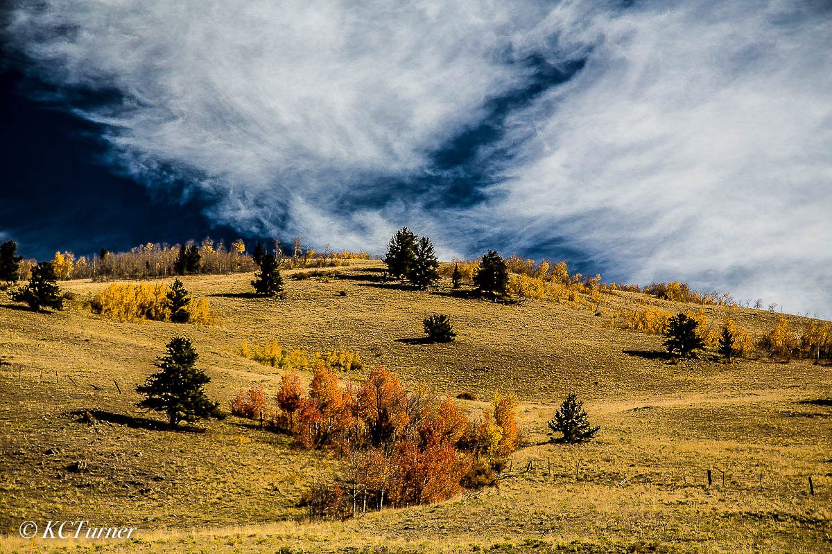 Kenosha pass, colorado, fall landscape, sweeping clouds, horizon line, photo