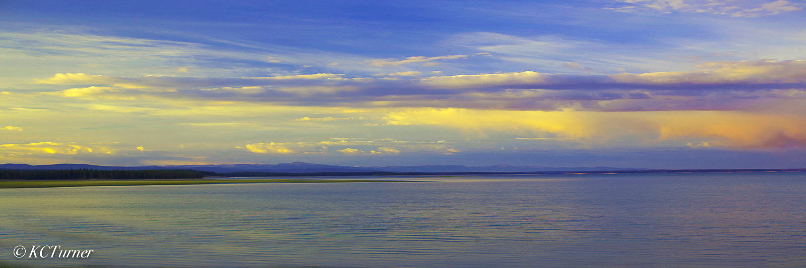 panoramic, landscape, Yellowstone Lake, sun down, captivated, photo shoot, shoreline, bold, dramatic, expressionistic, capture, Yellow Stone National Park, photo