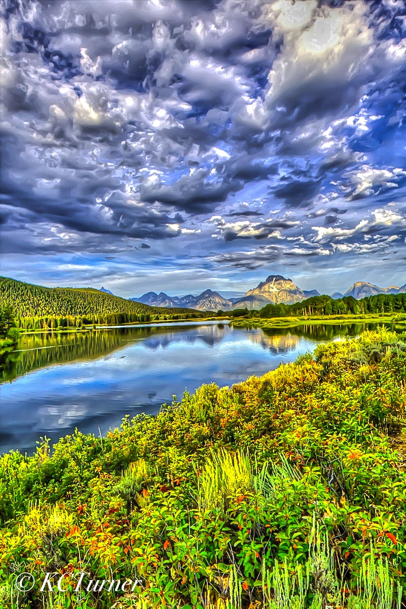 Wyoming, Grand Tetons, beautiful flora, cloud formations , Oxbow River, meanders,  Grand Teton National Park, spectacular landscape,  5:00 AM,  marshy foreground,  capture, colorful fall,  early morni, photo